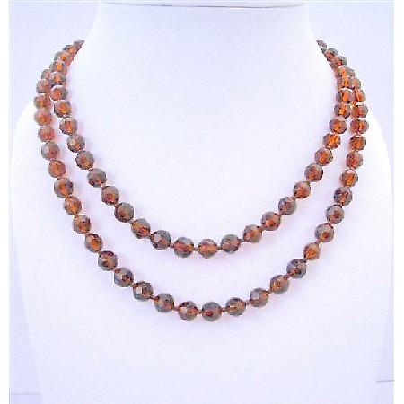 50 Inches Long Necklace Dark Smoked Topaz Simulated Crystal Round Bead