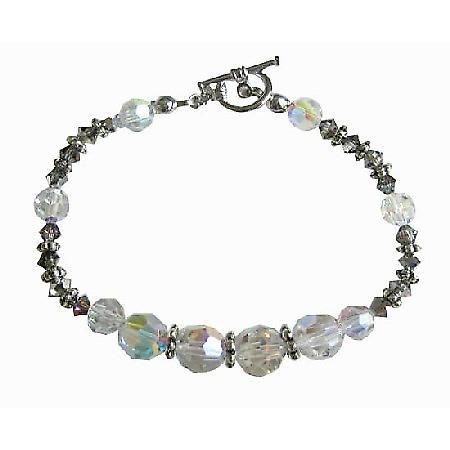 Swarovski AB Volcano Crystals Bali Silver Spacer Bridesmaid Bracelet