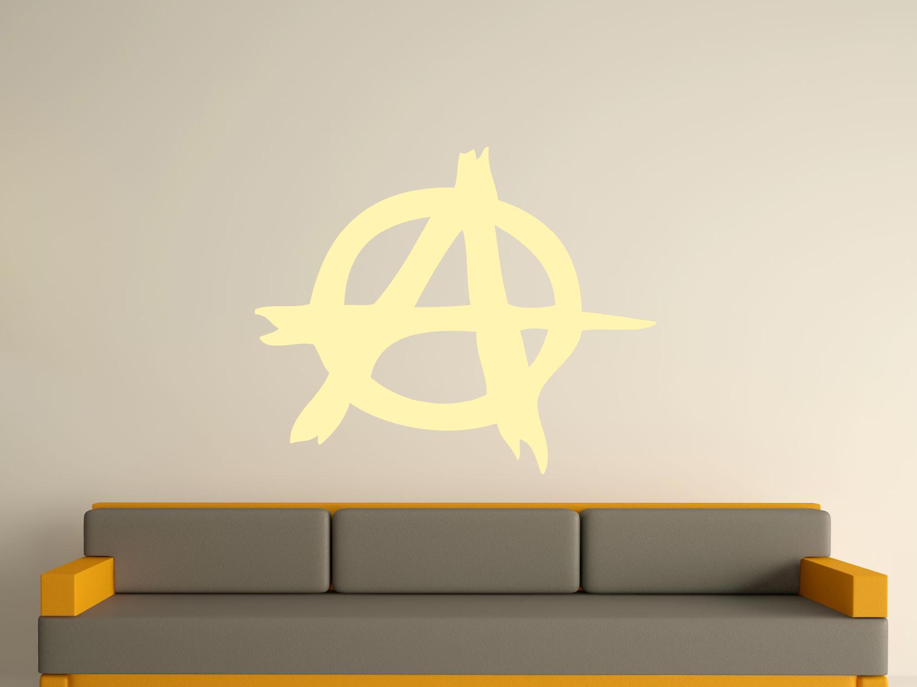 Anarchy Symbol Wall Art Sticker - Beige