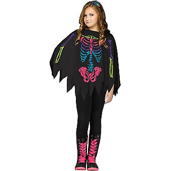 Skeleton Black And White Poncho For Children - 20121