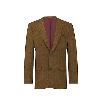 Harris Tweed Mens Rust Windowpane Check Tweed Jacket Regular Fit 100% Wool Notch Lapel