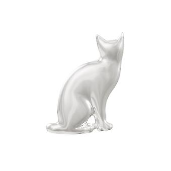 Eternal Collection Watchful Silver Tone Cat Brooch