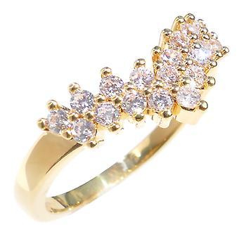 Ah! Smycken Ladies Classy 18kt äkta guld fyllda Lab skapade Wishbone diamantring