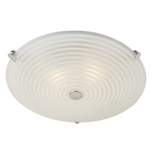 Endon 633-32 Modern Etched Glass Flush Ceiling Light With Chrome Detail