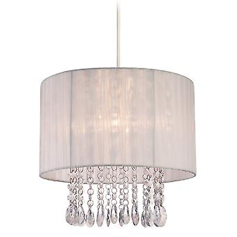 Firstlight - 1 Light Easy-Fit Ceiling Pendant White, Clear Acrylic - 8634WH