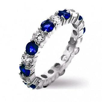 10K White Gold Filled Sapphire Blue Eternity Ring