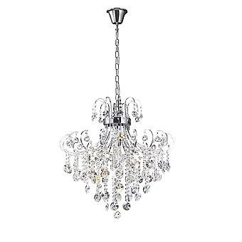 Diyas Rosina Pendant 7 Light Polished Chrome/Crystal