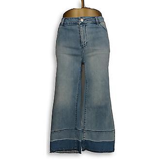Susan Graver Women's Jeans High Stretch Denim Crop Blue A304089