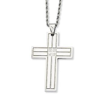 Stainless Steel Fancy Lobster Closure Polished Cross With Cubic Zirconias Pendant 24inch Necklace - 24 Inch