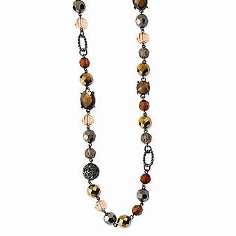 Black Plating Fancy Lobster Closure Black-plated Multicolored Glass and Beads With Velor Cord 42inch Necklace