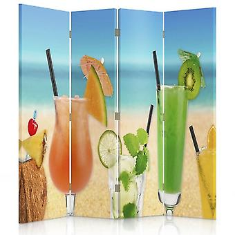 Room Divider, 4 Panels, Double-Sided, 360 ° Rotatable, Canvas, Cocktails On The Beach