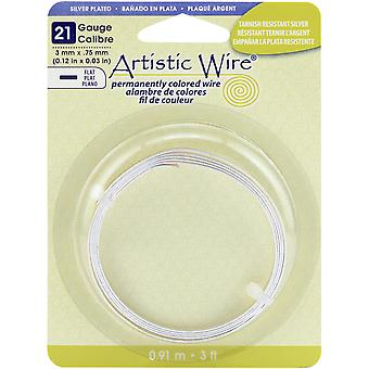 Flat Wire 21g 3mmX.75mmX3'-Silver Plated ABW-21F