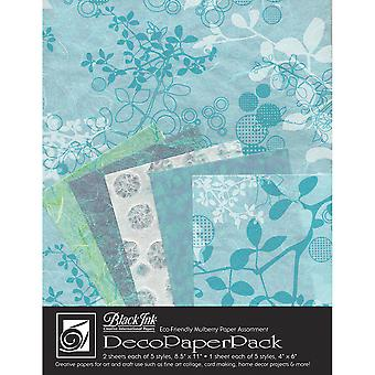 Deco Paper Pack By Black Ink Papers-Chinaberry Aqua DP-703