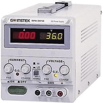 Bench PSU (adjustable voltage) GW Instek SPS-3610 0 - 36 Vdc 0 - 10 A 360 W Remote No. of outputs 1 x