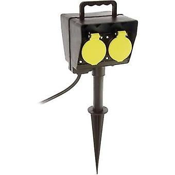 Weatherproof socket strip 2x Black, Yellow as - Schwabe 60680