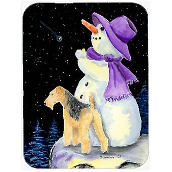 Snowman with Lakeland Terrier Glass Cutting Board Large
