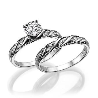 1 Carat D SI2 Diamond Engagement Ring 14k White Gold Vintage Ring Bridal Set Engagement Set