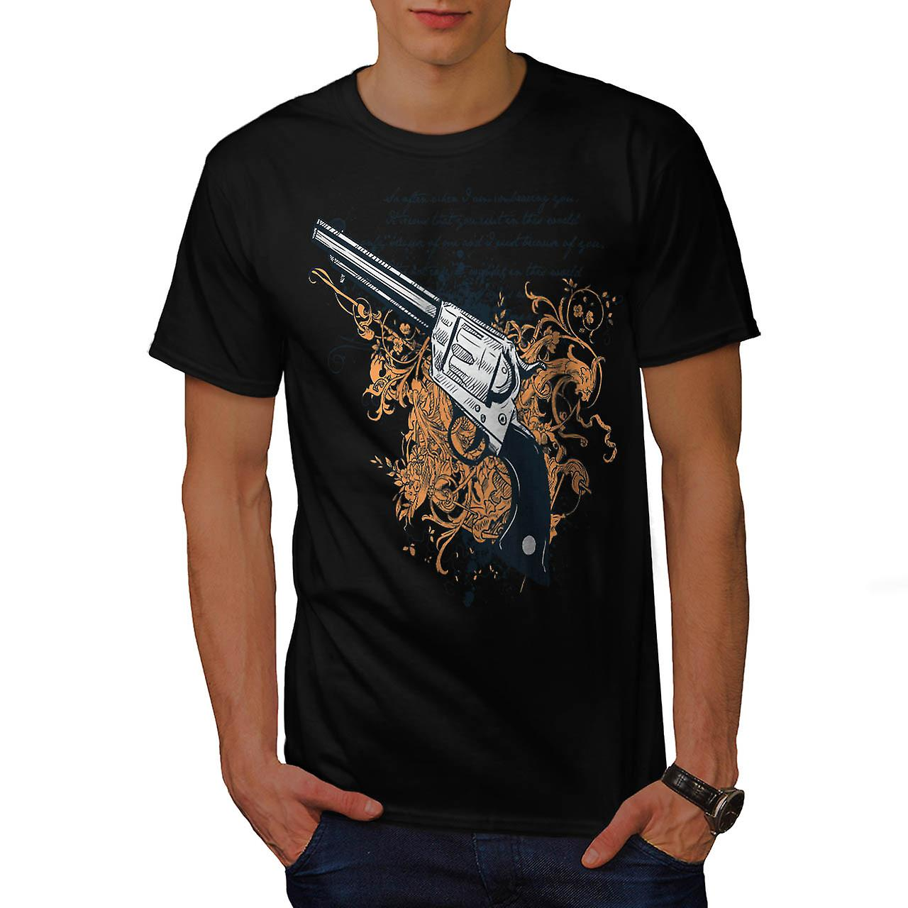 Deadly Weapon Pistol Gun Battle Men Black T-shirt | Wellcoda
