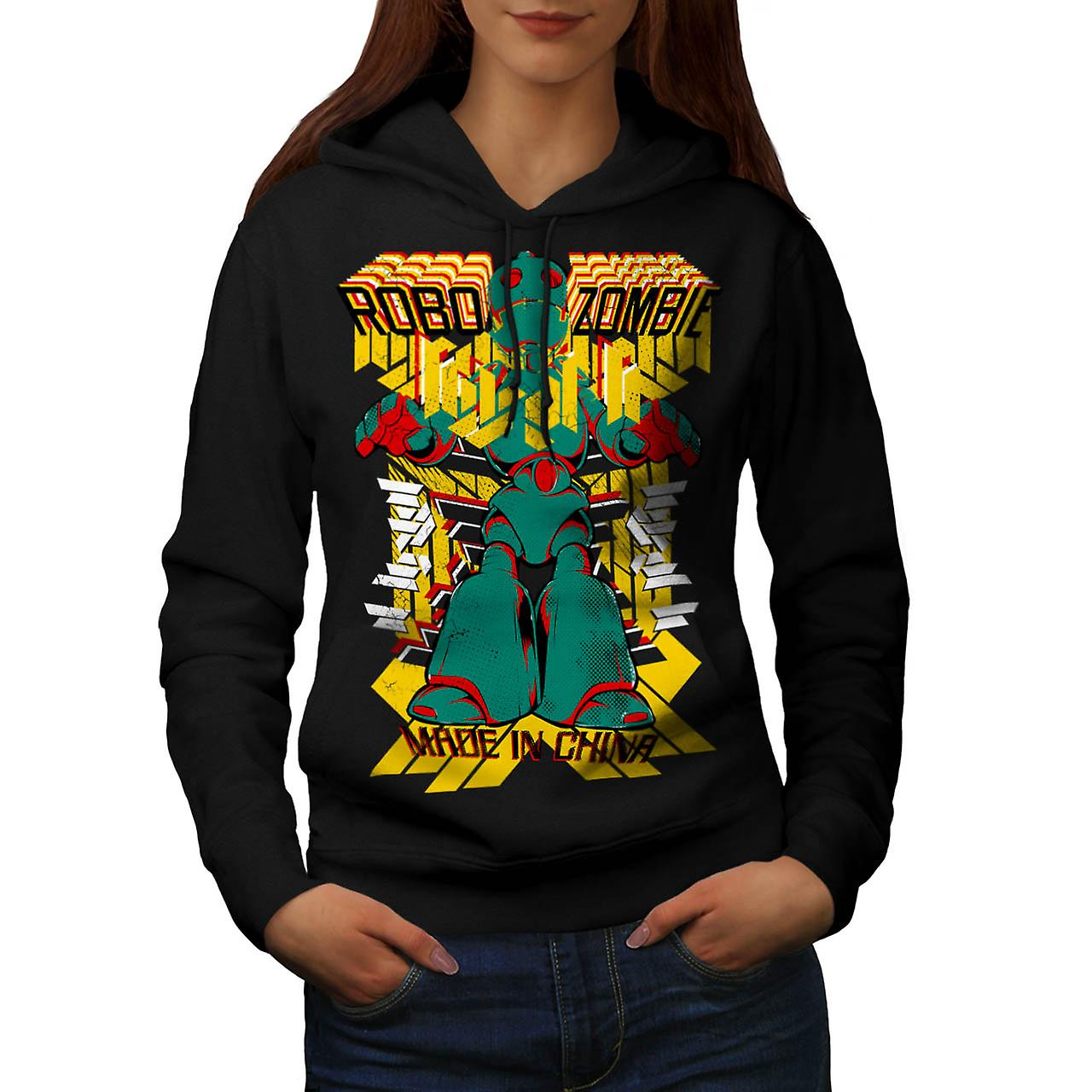 Robot Zombie China Metal Flesh Women Black Hoodie | Wellcoda