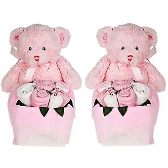 Twins - Rosebud Teddy Box - Sugar Pink