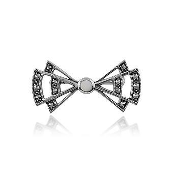 Gemondo 925 Sterling Silver Art Deco Opal & Marcasite Brooch