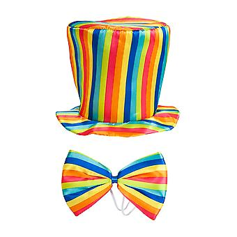 Adults Rainbow Top Hat & Bow Tie Fancy Dress Accessory