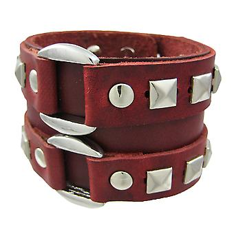 Brown Leather Double Chrome O Ring Wristband Bracelet