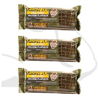 3 x individuelle granat 70g Reload chokolade Browning Protein Flapjacks