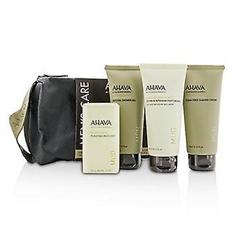 Ahava Men's Care Set: Shaving Cream 100ml + Mineral Shower Gel 100ml + Dermud Intensive Foot Cream 100ml + Purifying Mud Soap 100g - 4pcs