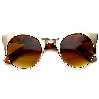 Okrąg metalowe pół ramki Cateye pół-bez oprawek okularów przeciwsłonecznych