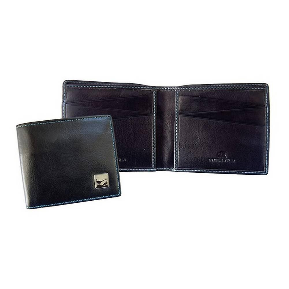Tyler and Tyler Leather Pheasant Bill Fold Wallet - Black