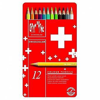 Lata de 12 lápices de Caran d ' Ache Swisscolour Soluble en agua