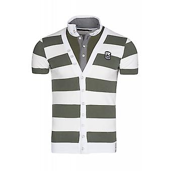 RUSTY NEAL striped shirt men's polo shirt Green with buttons