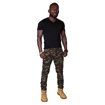 Slim Fit Men's Cargo Trousers - Forest Camouflage Mens Combat Pants Army Trouser