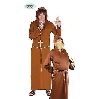 Father Friar monk costume cowl cassock mens one size