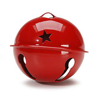 Red 70mm Jumbo Jingle Bell with Star Cut-outs | Craft Bells