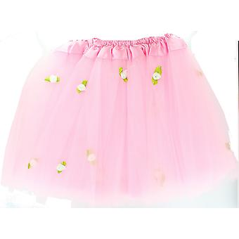 Children's Pink Tutu with White Roses Fancy Dress Accessory