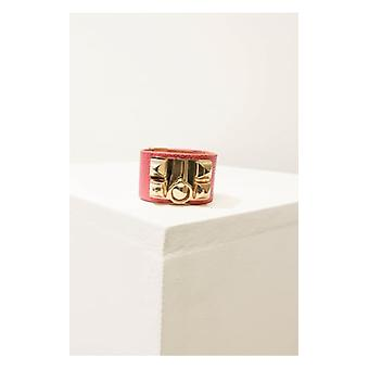The Fashion Bible Celebrity Style Pyramid Rivet And Spike Faux Leather Cuff