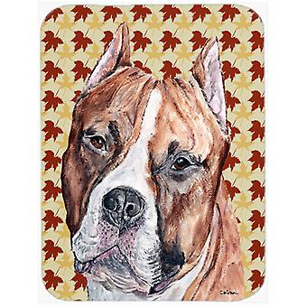 Staffordshire Bull Terrier Staffie Fall Leaves Mouse Pad, Hot Pad or Trivet