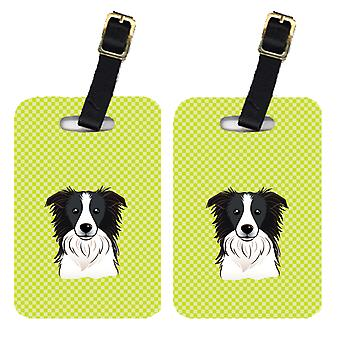 Para szachownica Lime Green Border Collie walizek