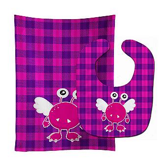 Carolines Treasures  BB9118STBU Monster Angel on Plaid Baby Bib & Burp Cloth