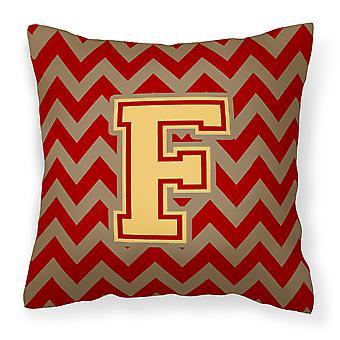 Letter F Chevron Garnet and Gold  Fabric Decorative Pillow