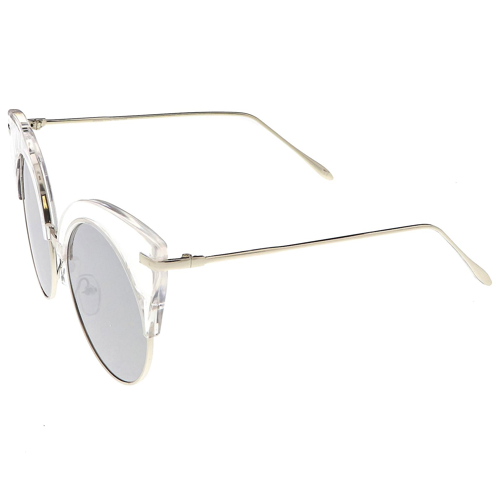 2a16f5f54f Oversize Half Frame Cat Eye Sunglasses Ultra Slim Arms Round Mirrored Flat  Lens 54mm