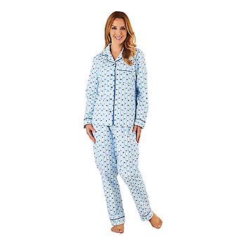 Slenderella PJ8223 Women's Blue Heart Motif Cotton Pajama Long Sleeve Pyjama Set