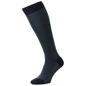Pantherella Beaumont Birdseye Merino Wool Over the Calf Socks - Navy