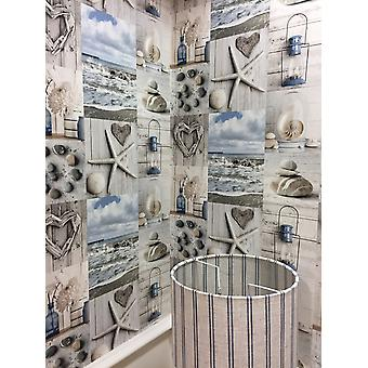 Beach Wallpaper Nautical Bathroom Pebbles Love Hearts Blue Grey Rustic Maritime