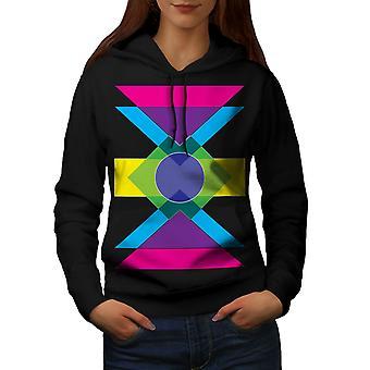 Reticolo geometrico donne BlackHoodie | Wellcoda