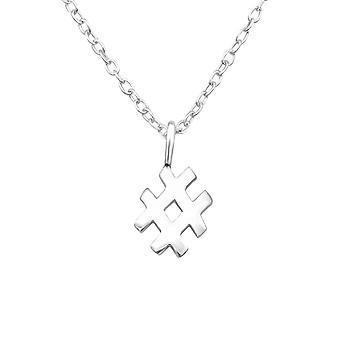 Hash Tag - 925 Sterling Silver Plain Necklaces - W25042X