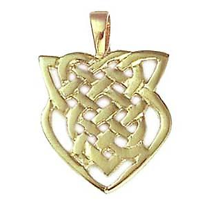 9ct yellow gold 20x19mm Celtic knot pendant