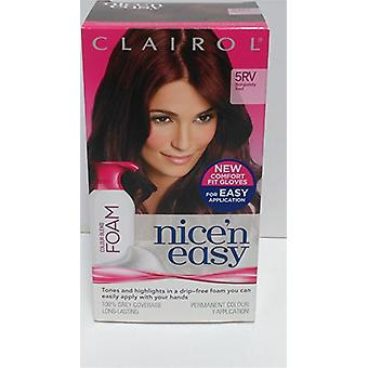 3 X Clairol Nice 'N Easy Colour Blend Foam Permanent Dye- 5Rv Burgundy Red